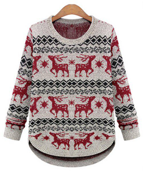 Stylish Long Sleeve Round Collar Deer Print Women's Christmas Sweater - OFF WHITE ONE SIZE(FIT SIZE XS TO M)