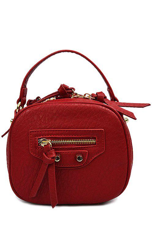 Trendy Zipper and Rivet Design Women's Tote Bag - RED