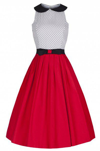 Sweet Sleeveless Peter Pan Collar Bowknot Decorate Polka Dot Women's Dress