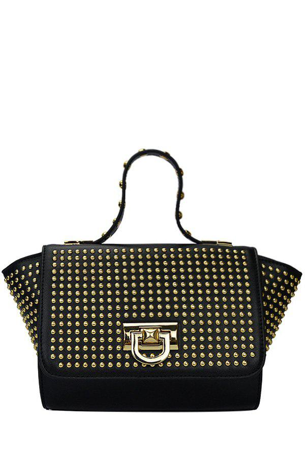 Trendy Rivet and Cover Design Women's Tote Bag - BLACK