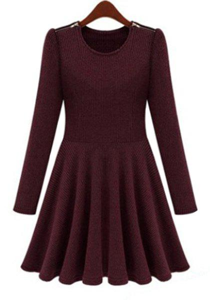 Long Sleeve Pure Color Scoop Neck Pleated Dress For Women - WINE RED S