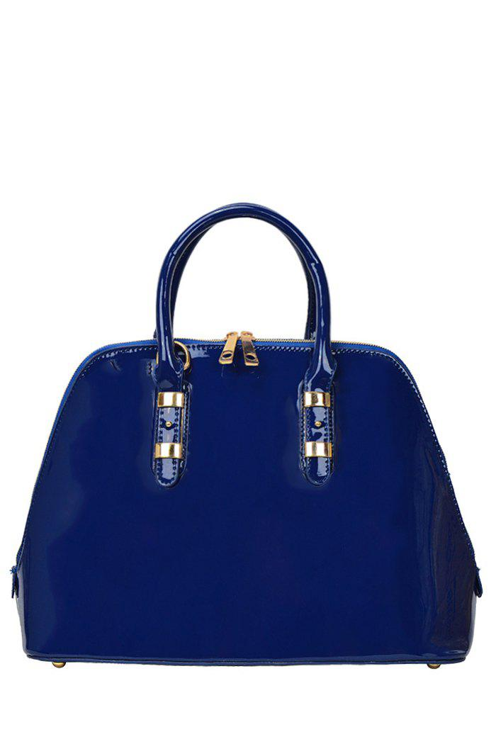 Concise Patent Leather and Metal Design Women's Tote Bag