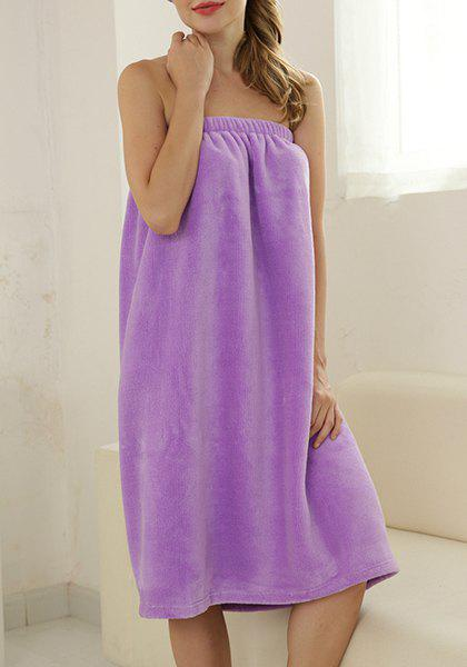 Sexy Strapless Pure Color Fleece Bathing Dress For Women - PURPLE ONE SIZE(FIT SIZE XS TO M)