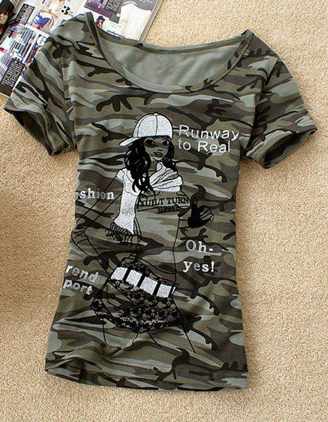 Casual Camo Scoop Neck Girl Print Short Sleeve T-Shirt For Women - ARMY GREEN M