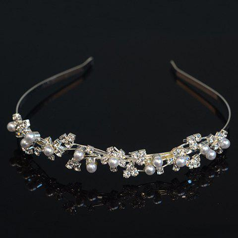 Graceful Rhinestoned Faux Pearl Hairband For Women - SILVER