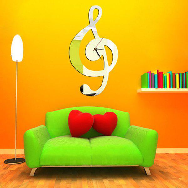 High Quality Music Note Shape Removeable DIY 3D Background Mirror Effect Wall Sticker - SILVER