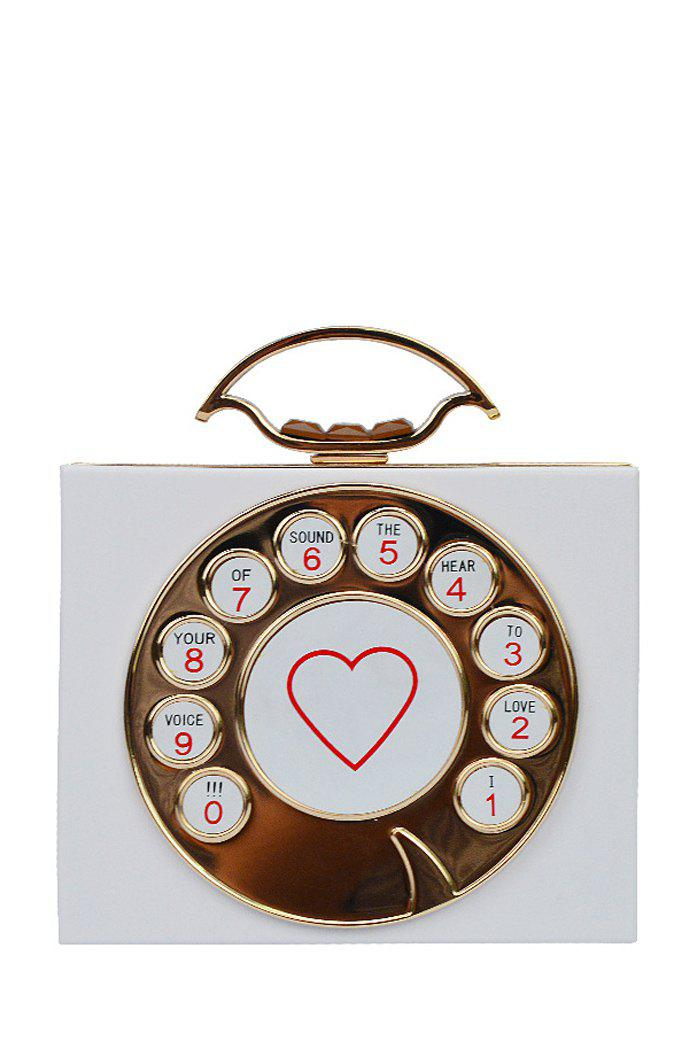 Stylish Telephone Shape and Heart Print Design Women's Evening Bag - WHITE