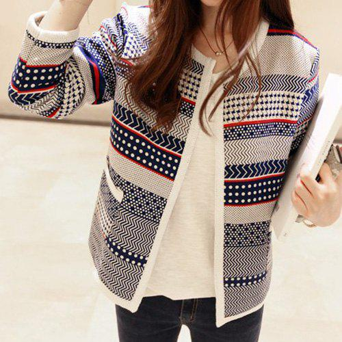 Sweet Style Long Sleeve Round Neck Pocket Design Printed Women's Cardigan - COLORMIX L