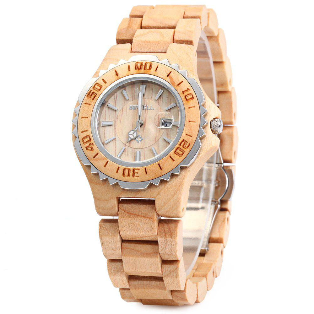 BEWELL ZS-100BL Wooden Women Quartz Watch with Luminous Hands Metal Case 30M Water Resistance - MAPLE WOOD