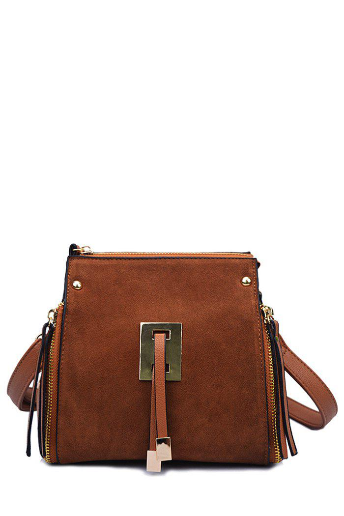 Trendy Splicing and Metal Design Women's Crossbody Bag - BROWN