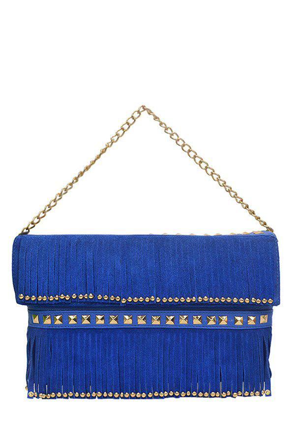 Trendy Rivet and Fringe Design Women's Shoulder Bag - BLUE