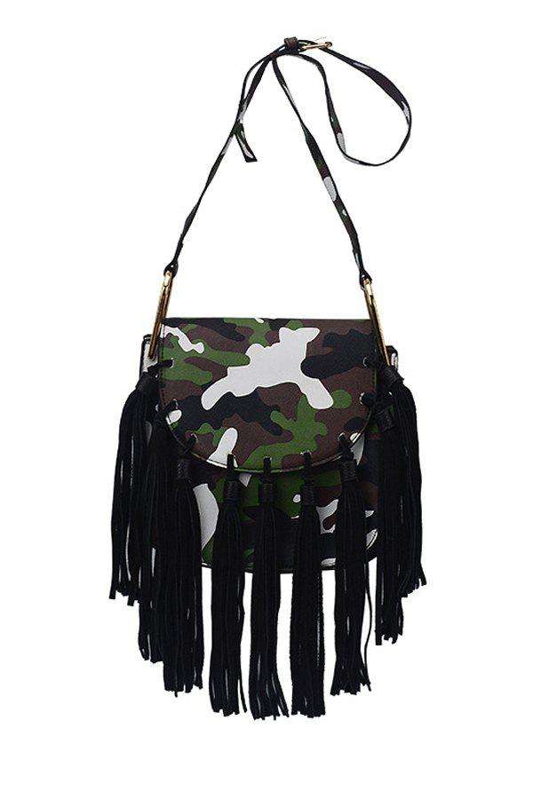 Trendy Tassels and Camouflage Print Design Women's Crossbody Bag - CAMOUFLAGE