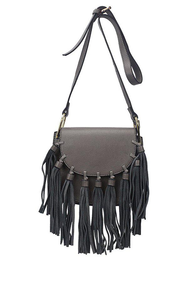Retro Tassels and Solid Color Design Women's Crossbody Bag - GRAY
