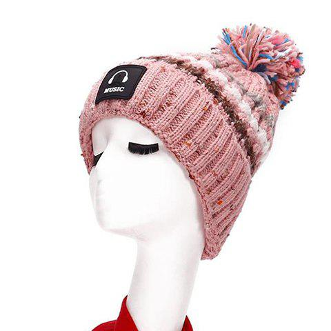 Chic Label and Colorful Ball Embellished Women's Striped Knitted Beanie - PINK