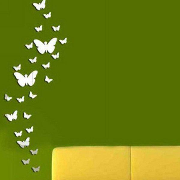 High Quality Butterfly Shape DIY 3D Background Mirror Wall Sticker - SILVER