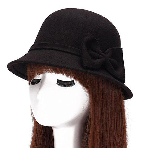 Chic Big Bow Embellished Round Top Felt Fedora Hat For Women - BLACK