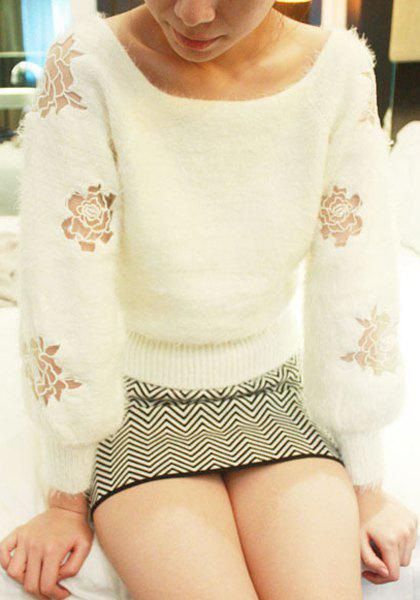 Stylish Scoop Neck Long Sleeve Rose Pattern Loose-Fitting Women's Sweater - WHITE M