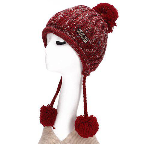 Chic Letters Embroidery Applique Woolen Yarn Ball Pendant Knitted Beanie For Women - RED