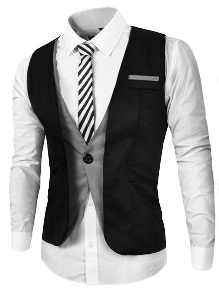 V Neck Color Block Splicing Fake Belt Sleeveless Men's Waistcoat - BLACK M