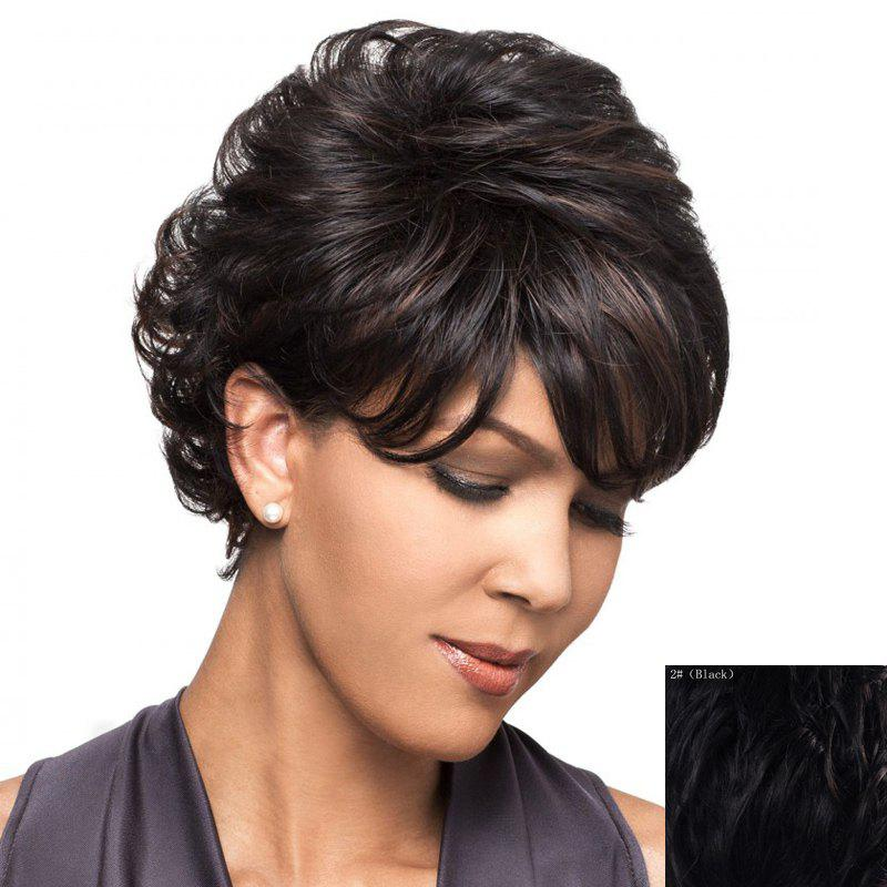 Fluffy Curly Capless Stylish Side Bang Graceful Short Women's Human Hair Wig - BLACK