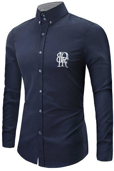Turn-Down Collar Letters Embroidery Pattern Long Sleeve Men's Button-Down Shirt - DEEP BLUE L