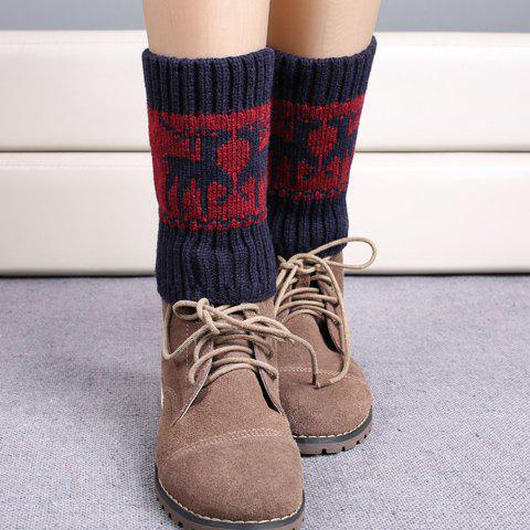 Pair of Chic Christmas Deer Pattern Women's Knitted Boot Cuffs - CADETBLUE