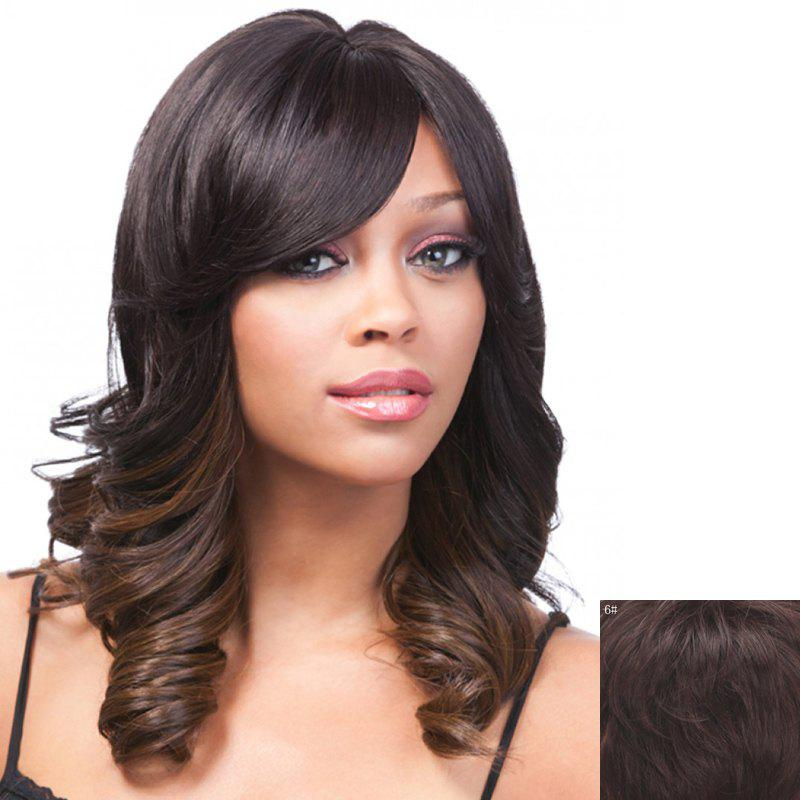 Stylish Side Bang Charming Long Capless Shaggy Curly Human Hair Wig For Women - MEDIUM BROWN