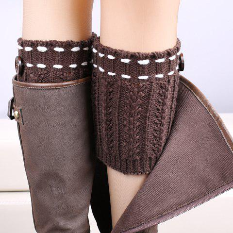 Pair of Chic Strappy and Button Embellished Women's Knitted Boot Cuffs - COFFEE