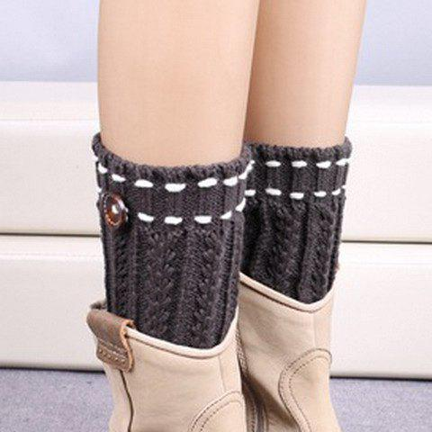 Pair of Chic Strappy and Button Embellished Women's Knitted Boot Cuffs - DEEP GRAY
