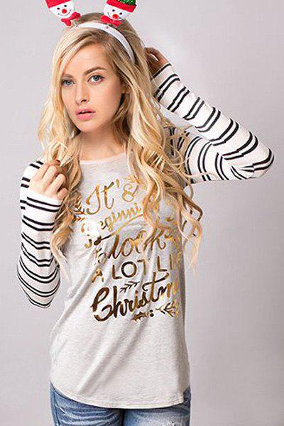 Christmas Scoop Neck Long Sleeve Striped Letter Pattern T-Shirt For Women - GRAY L