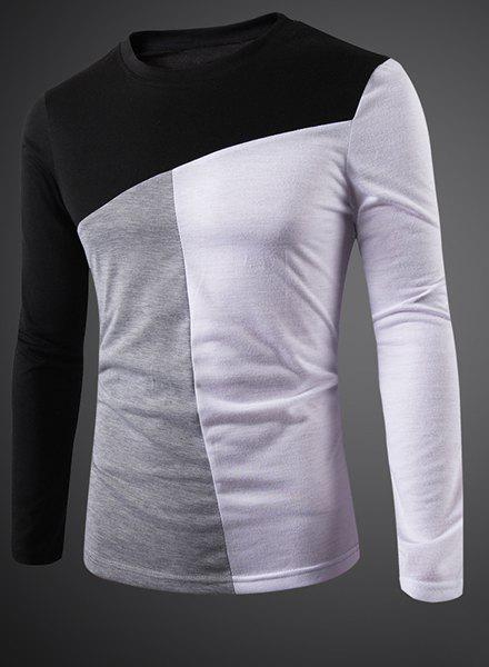Round Neck Color Block Splicing Slimming Long Sleeve Men's T-Shirt - BLACK M
