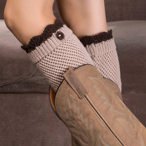 Pair of Chic Wavy Edge and Button Embellished Women's Knitted Boot Cuffs