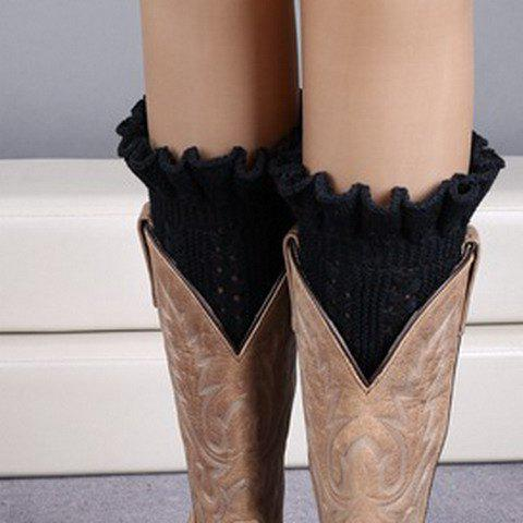Pair of Chic Flouncing Hollow Out Weaving Women's Knitted Leg Warmers - BLACK