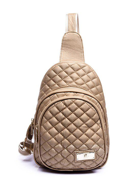 Trendy Checked and Stitching Design Women's Crossbody Bag - GOLDEN