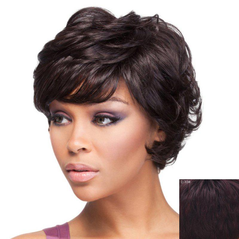 Nobby Short Towheaded Curly Capless Noble Side Bang Women's Human Hair Wig - RED MIXED BLACK