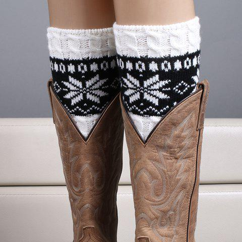 Pair of Chic Christmas Snowflake Pattern Women's Knitted Boot Cuffs -  WHITE
