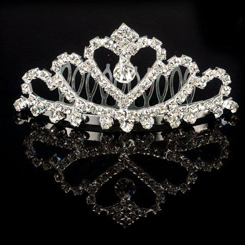 Graceful Rhinestoned Heart Crown Shape Water Drop Hair Comb For Women - SILVER