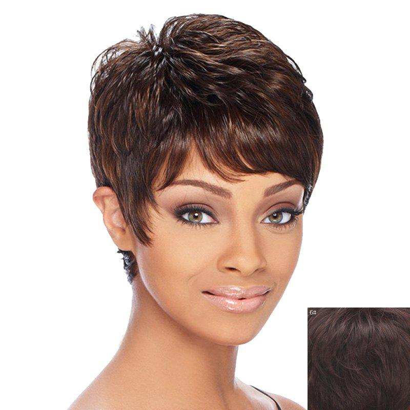 Fluffy Curly Spiffy Short Capless Elegant Inclined Bang Women's Real Natural Hair Wig - MEDIUM BROWN