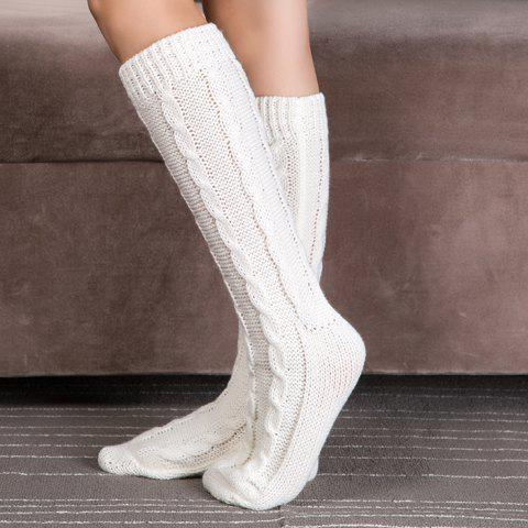Pair of Chic Solid Color Hemp Flowers Women's Knitted Stockings