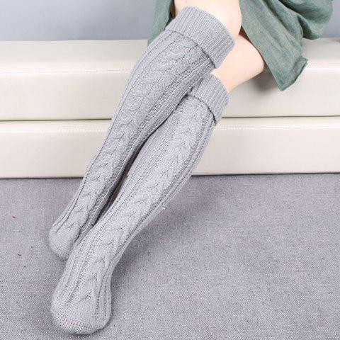 Pair of Chic Solid Color Flanging Hemp Flowers Women's Knitted Stockings