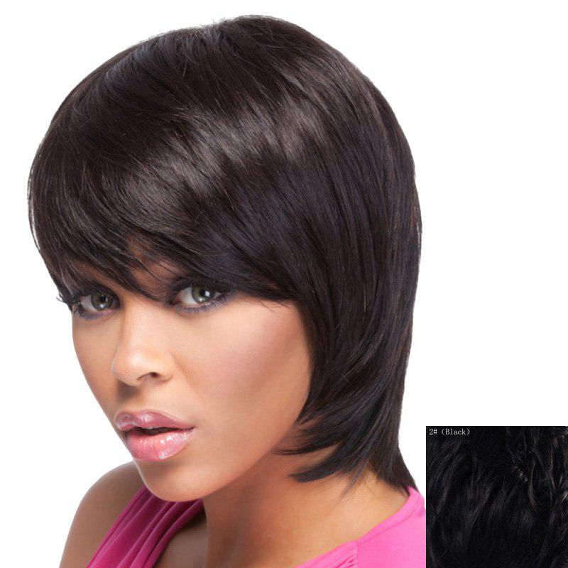 Elegant Side Bang Short Capless Fashion Straight Women's Real Natural Hair Wig - BLACK