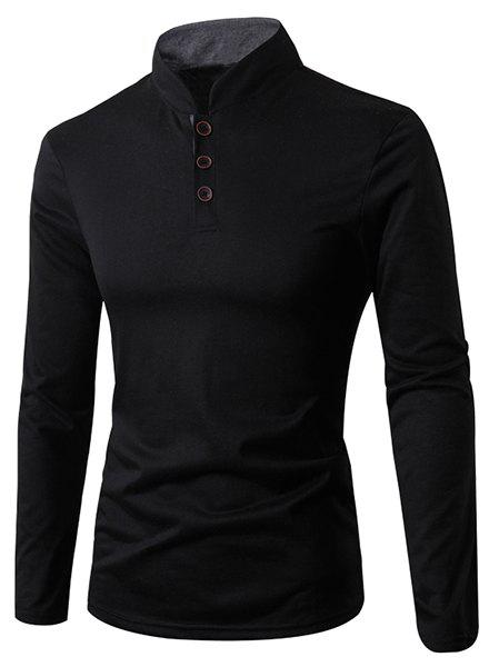Stand Collar Solid Color Button Embellished Long Sleeve Men's T-Shirt - BLACK L