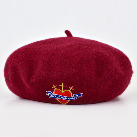 Chic Heart Cross Letter Embroidery Women's Winter Felt Beret - WINE RED