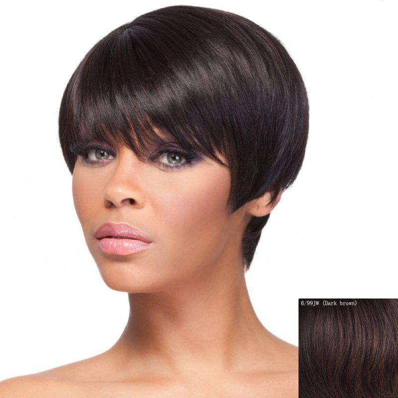Fashion Straight Capless Noble Short Neat Bang Human Hair Wig For Women - DARK BROWN