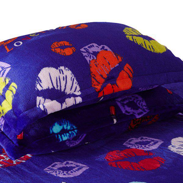 A Pair of High Quality Lips Pattern Polyester Pillow Case(Without Pillow Inner) - COLORMIX