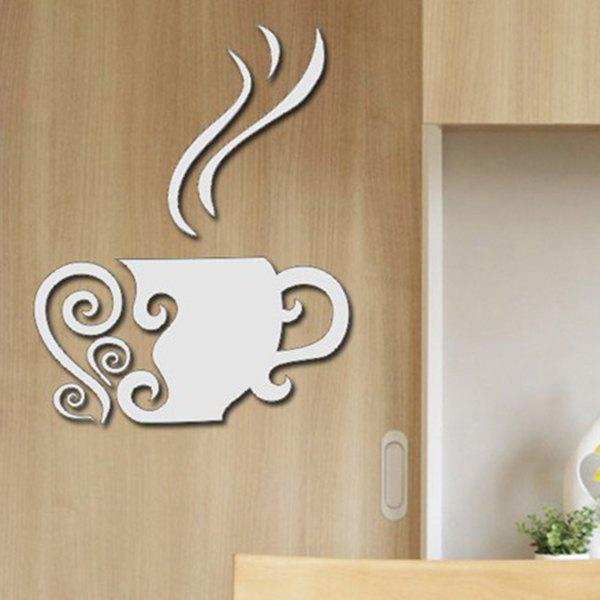 Stylish Afternoon TeaShape Removeable 3D Mirror Wall Sticker - SILVER