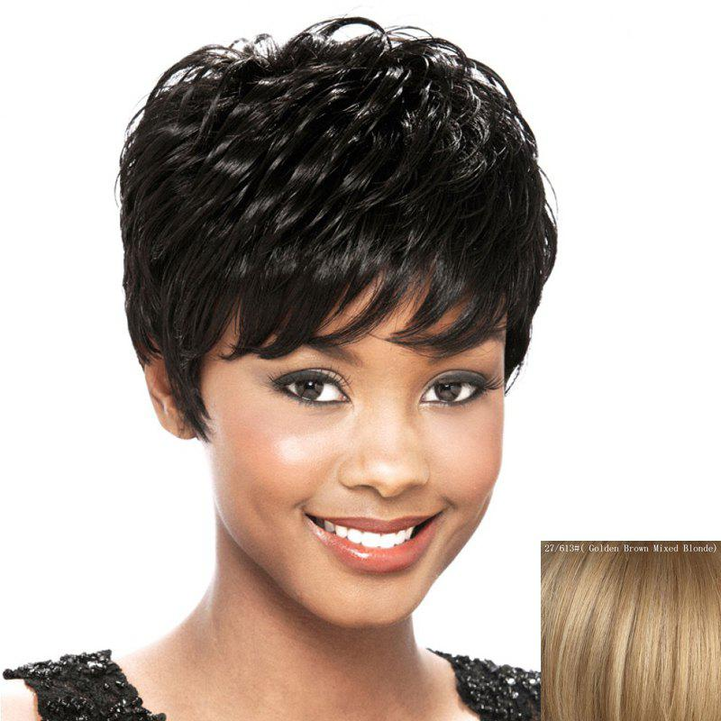 Fluffy Curly Vogue Side Bang Graceful Short Capless Women's Real Natural Hair Wig - GOLDEN BROWN/BLONDE