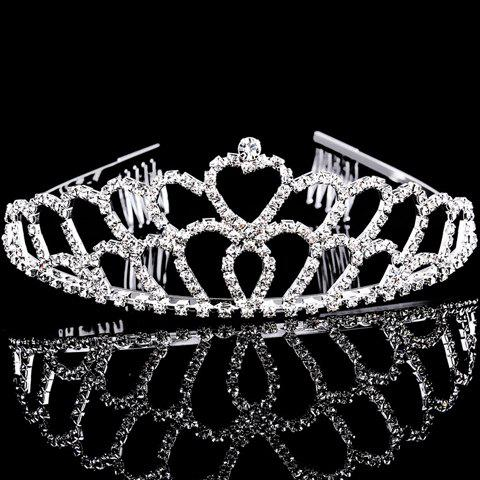 Chic Rhinestoned Heart Hollow Out Crown For Women - SILVER