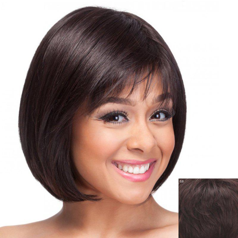 Bob Style Capless Fashion Short Inclined Bang Sweet Straight Human Hair Wig For Women - MEDIUM BROWN