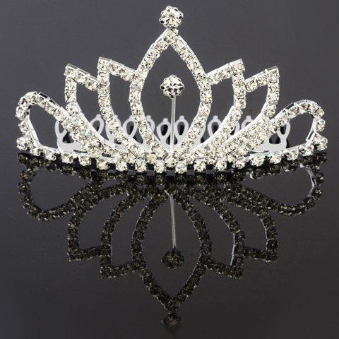 Stylish Hollow Out Rhinestoned Crown Shape Hair Comb For Women - SILVER
